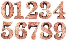 Números de piedra del mineral de hierro en el fondo blanco ilustración del vector