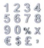 Números de prata ilustração royalty free