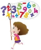 Números de travamento da menina com rede ilustração stock