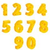Números decorativos del queso Fotos de archivo