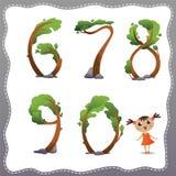Números del árbol en el fondo blanco. imagen de archivo