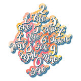 Números del alfabeto, bosquejo a mano del garabato Illustr del vector Eps10 Imagen de archivo libre de regalías