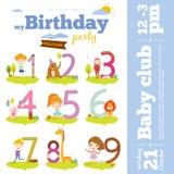Números del aniversario del cumpleaños con los animales y los niños libre illustration