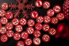 Números del bingo de la Navidad Imagen de archivo