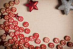 Números del bingo de la Navidad en estilo plano Fotografía de archivo