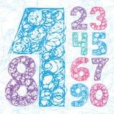 Números del bosquejo del lápiz Sistema del vector del dibujo de la mano stock de ilustración
