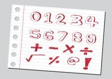 Números del bosquejo y símbolos de las matemáticas Foto de archivo libre de regalías
