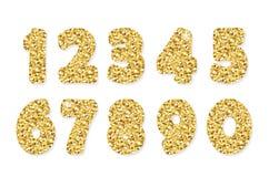 Números del brillo del oro Para el cumpleaños y el diseño festivo del partido Fotografía de archivo libre de regalías