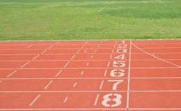 Números del carril de la pista del atletismo Imagen de archivo