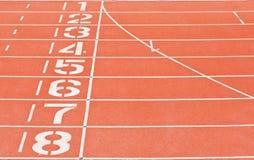 Números del carril de la pista del atletismo Imagen de archivo libre de regalías