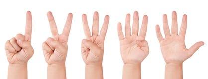 Números del dedo del niño Foto de archivo