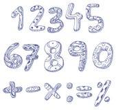 Números del Doodle y muestras de la matemáticas Fotografía de archivo