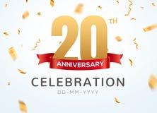 20 números del oro del aniversario con confeti de oro Vigésima plantilla del partido del evento del aniversario de la celebración libre illustration