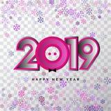 2019 números del vector de la Feliz Año Nuevo 3d para el calendario diseñan fotos de archivo