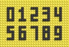 Números del vector de ladrillos plásticos del lego del edificio Números coloridos del lego Foto de archivo