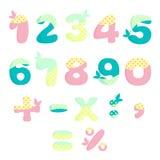 Números del vector para los niños con las mariposas Foto de archivo libre de regalías
