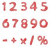 Números desenhados mão ilustração stock