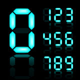 Números digitais de incandescência do azul Fotografia de Stock