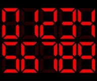 Números digitales electrónicos rojos 0-9 Fotografía de archivo libre de regalías