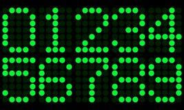 Números digitales electrónicos verdes 0-9 Fotografía de archivo