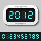 Números digitales que brillan intensamente del azul - Año Nuevo 2012 Foto de archivo