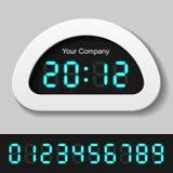 Números digitales que brillan intensamente del azul - reloj o contador Fotos de archivo libres de regalías