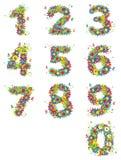 Números, diseño floral. ilustración del vector