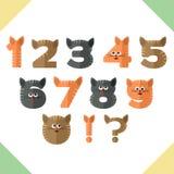 Números, diseño plano en estilo de los gatos Imagen de archivo libre de regalías