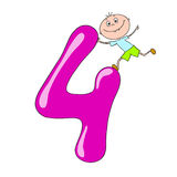 Números divertidos con los niños de los personajes de dibujos animados 4 Foto de archivo libre de regalías