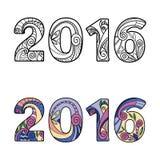 2016 números do ano novo ilustração stock