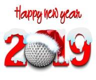 Números 2019 do ano novo e bola de golfe imagem de stock