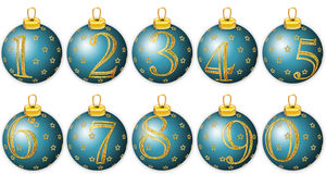 Números do ano novo em esferas azuis Fotos de Stock
