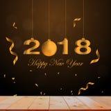 2018 números do ano novo feliz em de madeira ilustração do vetor