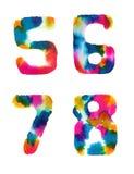 Números do arco-íris da aquarela Fotos de Stock Royalty Free
