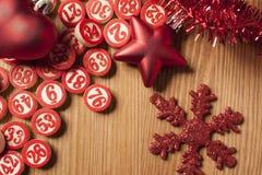 Números do bingo do Natal Fotografia de Stock Royalty Free