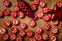 Números do bingo do Natal Fotos de Stock