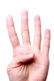 Números 4 do dedo Fotos de Stock Royalty Free
