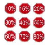 Números do disconto ajustados Imagens de Stock