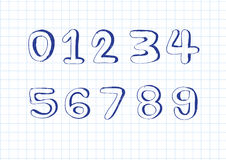 Números do esboço 0-9 Fotografia de Stock Royalty Free