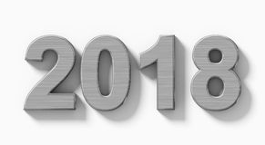 Números do metal 3d do ano 2018 com a sombra isolada no branco - orto Imagens de Stock
