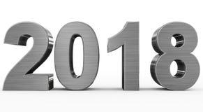 Números do metal 3d do ano 2018 isolados no branco Fotografia de Stock Royalty Free