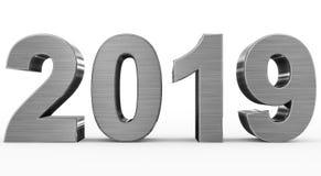 Números do metal 3d do ano 2019 isolados no branco ilustração royalty free