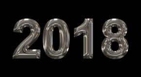 Números do metal 3d do ano 2018 isolados no preto Imagem de Stock Royalty Free