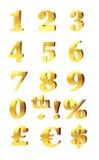 Números do ouro e símbolos de moeda Fotos de Stock Royalty Free