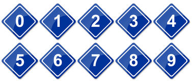 Números do sinal de tráfego ajustados Foto de Stock Royalty Free
