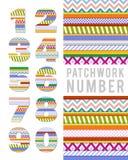 Números do vetor no estilo dos retalhos Fotografia de Stock Royalty Free