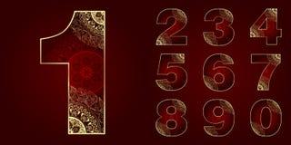 Números do vintage ajustados com redemoinhos florais Imagens de Stock