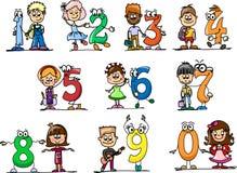 Números dos desenhos animados e crianças, vetor Fotografia de Stock Royalty Free