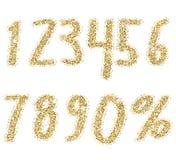 Números dourados brilhantes do brilho Fonte salpicando do brilho Números luxuosos dourados decorativos Bom para para a venda, fer Imagens de Stock Royalty Free