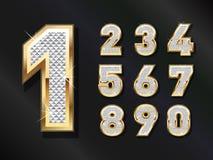 Números dourados de Bling Fotografia de Stock Royalty Free